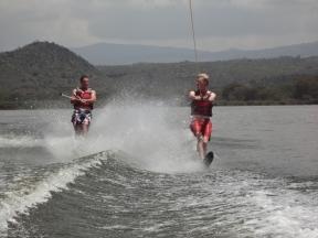 Double water skiing