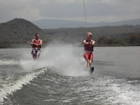 Double water skiing