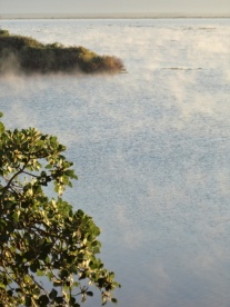 Mist rising from the lake at dawn