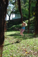 Swinging from the amazing fig roots
